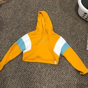 Cropped yellow, white, and blue Hollister sweater